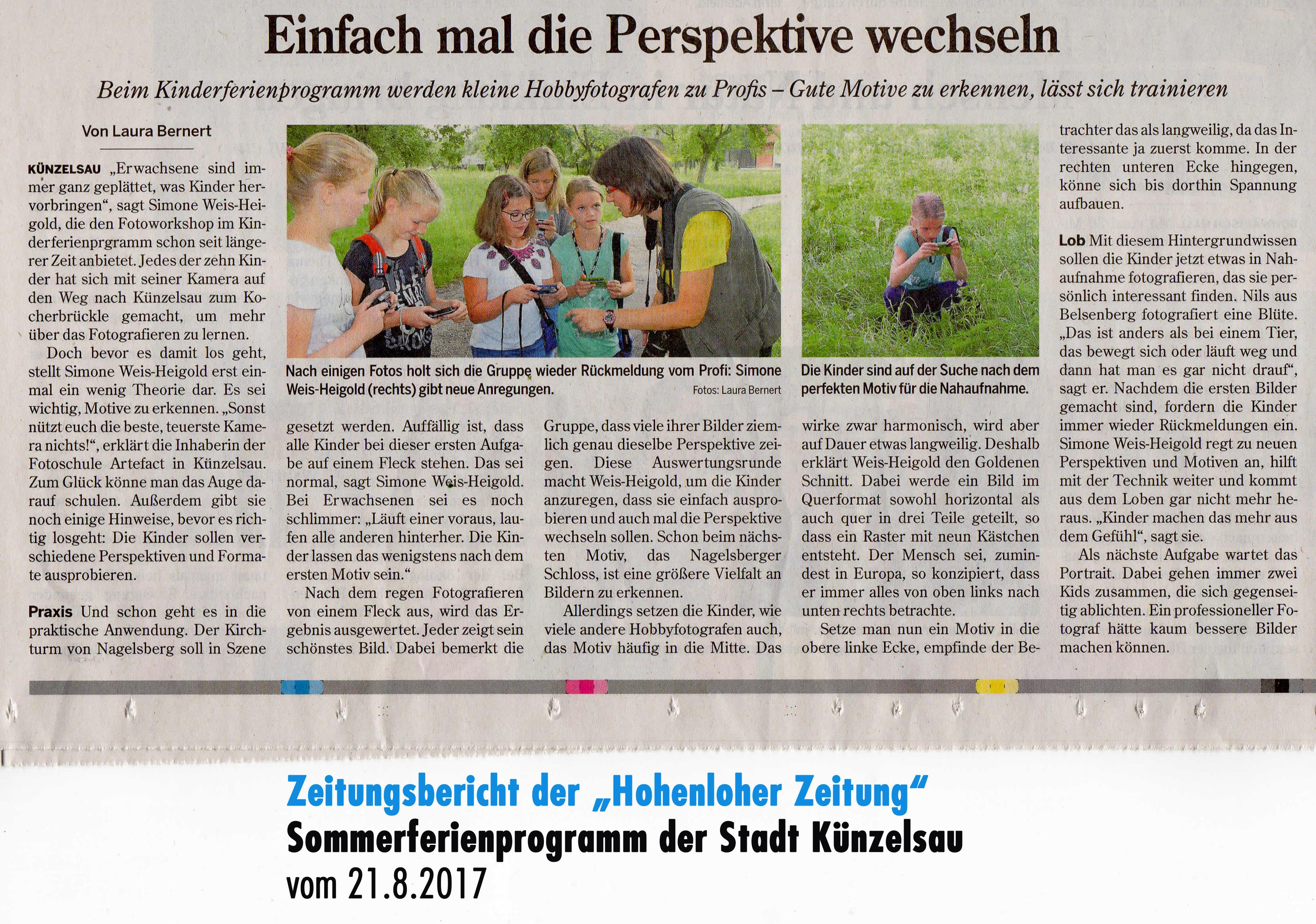 Zeitungsbericht Hohenloher Zeitung